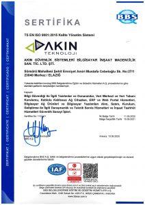 TS EN ISO 9001 2015 Kalite Yonetim Sistemi | Akın Teknoloji
